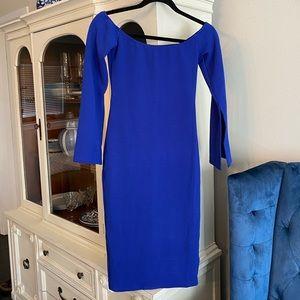 Cobalt blue off the shoulder dress